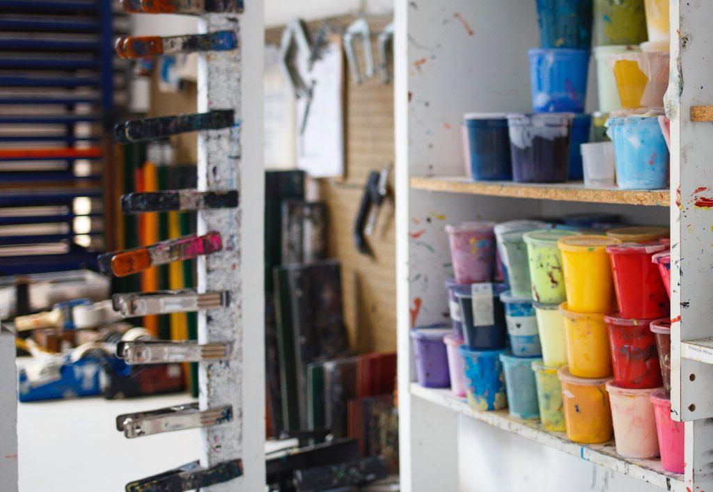 Supplies in an art room